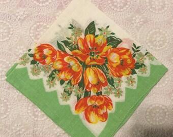 Vintage Print Handkerchief,Bridal Hankie