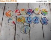 SALE SALE Facial Rounds, make up removers, facial cloths,  Reusable OBV make up applicators,  hand dyed swirl bamboo,  set of 12