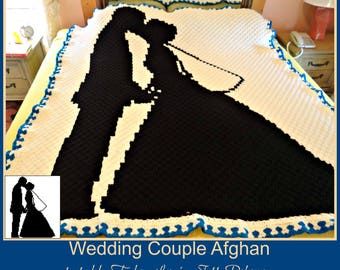 C2C Graph, Wedding Couple, C2C Graph, and Written Word Chart, Corner to Corner, Bride and Groom C2C Graph, Wedding Afghan