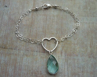 Aquamarine Bracelet, Heart Bracelet, Birthstone Jewelry, Sterling Silver, March,Gift for Best Friend, Birthday Gift, Charm Bracelet