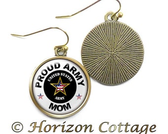 Proud Army Mom (Wife, Girlfriend, etc.) Earrings, Army Earrings, Proud Mom, American Flag Heart