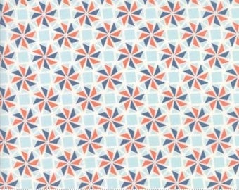 Early Bird by Kate Spain for Moda - Floral - Whirlaway - Denim Blue - Fat Quarter - FQ - Cotton Quilt Fabric