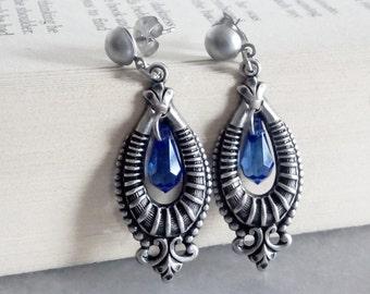 Sapphire Blue Earrings -Swarovski Dangle Earrings -Gothic Earrings -Vintage Bride -Goth Bridal Earrings -Bridesmaids Gift -Swarovski Jewelry