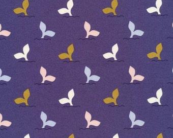 Fish Tales in Nightfall  - Underwater - Elizabeth Olwen - Organic Cotton - Cloud 9 Fabrics - LAST 1.8 Yards