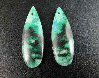 Chrysocolla Earring Beads, Untreated Natural Gemstone,Jewelry making supplies S7721
