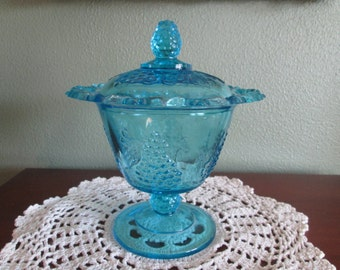 L. G. Smith or Indiana Glass Cable and Grape  Blue Candy Dish