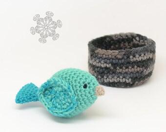 Crochet Bird Play Set - Made with Natural Fibers - Set of One Bird and a Nest