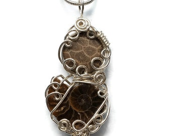 Ammonite and Fossilized Coral Necklace / Fossil Shell Jewelry /  Sterling Silver Wire Wrap Pendant / Natural Fossil Sea Shell Necklace