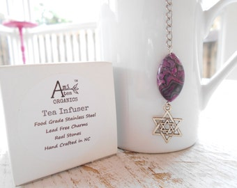 Tea Infuser / Free Shipping in USA / Star of David / Purple Lace Black Lace Marble Stone / USA Made Charm / Gift Boxed