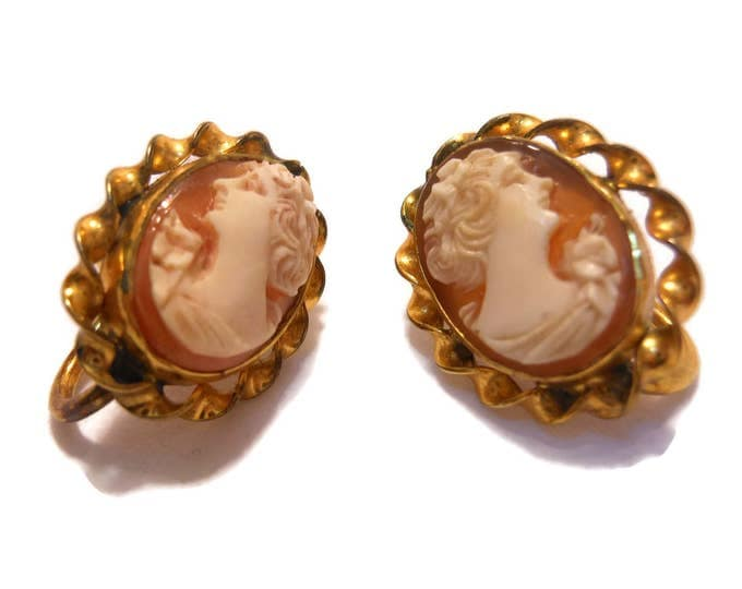 Amco cameo earrings, screw back earrings, marked 1/20 12KT gold filled, carved shell