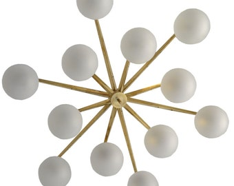 italian modern gold & murano glass flush mount chandelier