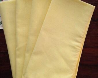 4 Vintage yellow cloth napkins, set of four, 1960