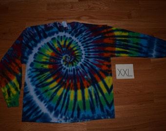 Tie Dye T-Shirt ~Rainbow Nautilus Spiral with White Stripes C_0129 Long Sleeve Adult XXL