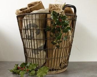 Vintage French Wine Basket...Wine Rack... Log Basket....Industrial Loft....Bottle Carrier....Shabby Chic...Nordic Living.