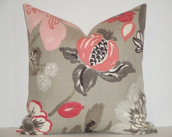 Decorative Pillow Cover - Floral Design in Pink Coral Taupe - Accent Pillow - Throw Pillow - Toss Pillow - Cushion Cover