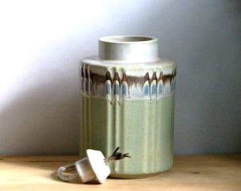 Genee Ceramic Oil Candle Sage Blue and Bone Indoor Outdoor Lamp Retro Home Decor
