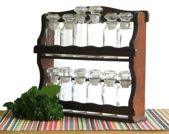 Vintage Wood Spice Rack Two Shelf 12 Jar Standing or Hanging Herb Shelves Cottage Farmhouse Kitchen Decor