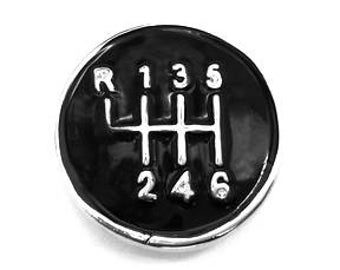 1 PC - 18MM Black Gear Shift Enamel Silver Charm for Snap Jewelry LECC2
