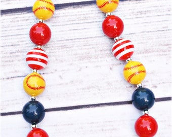 Softball Chunky Bead Necklace/Gifts for Coaches/Girls/Team Mom Necklace/ Custom Necklace/ Softball Team Colors Necklace