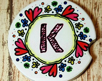 Monogrammed Coasters Initial Car Coaster Whimsical Decorative Coasters For Women Car Decor