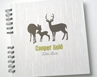 Baby Book |  Baby Memory Album | Deer Family Personalized Wire Bound Baby Memory Book Keepsake Album