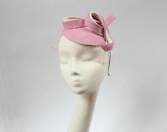 Bridal Hair Accessories,Felt Mini Hat,Fascinator,Light Pink Ivory