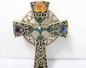 Celtic Cross  Brooch - Rhinestone Settings - Gold Tone Metal
