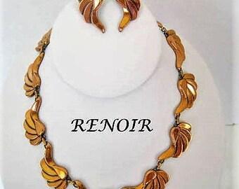 Renoir Necklace Earrings - Vintage Copper Renoir -  Enamel on Copper