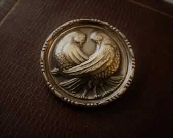 Lovebirds Brooch Round Sterling Silver Vintage Love Birds