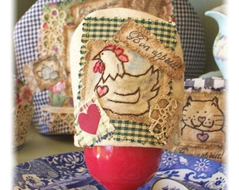 Mother Hen - Egg Cosy, Original Crazy patchwork, primitive freehand, hand drawn, hand stitched in Australia