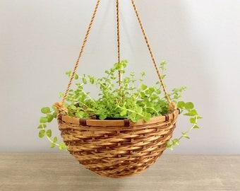 Vintage Hanging Basket Planter Wicker Rattan Jungalow Boho Chic Decor