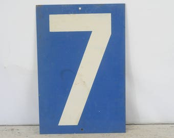 Vintage Metal Number 7/8 Double Sided Sign Gas Station Signs