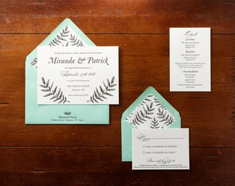 Vintage Botanical Letterpress wedding invitation
