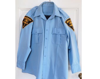 Vintage Police Uniform- Light Blue with Black Trousers- Zip up and Button shirt, two patches, side striped pants
