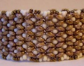 Superduo cuff bracelet with Cream and Bronze seed beads, beaded cuff bracelet, beaded bracelet