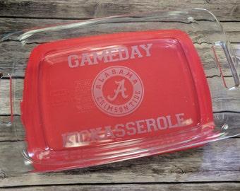 """9"""" x 13"""" Alabama Game Day Kickasserole Engraved Pyrex Baking Dish"""