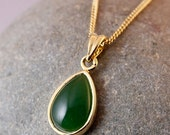 ON SALE Green Nephrite Jade Necklace - Teardrop - Gold Plated