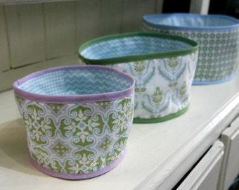 Round Fabric Storage Baskets PDF Pattern Digital Pattern Easy Sewing Pattern Fabric Storage Bins Nesting Fabric Baskets