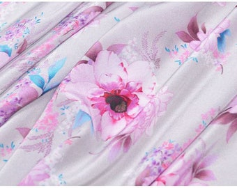 """Crepe de Chine silk fabric, floral digital printing,  45"""" 12m/m, beautiful silk Fabric for summer Dresses, shirts, blouse, by the yard"""