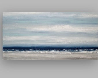 "Art, Large Painting, Original Abstract, Acrylic Paintings on Canvas by Ora Birenbaum Titled: Navy Mist 3 24x48x1.5"""