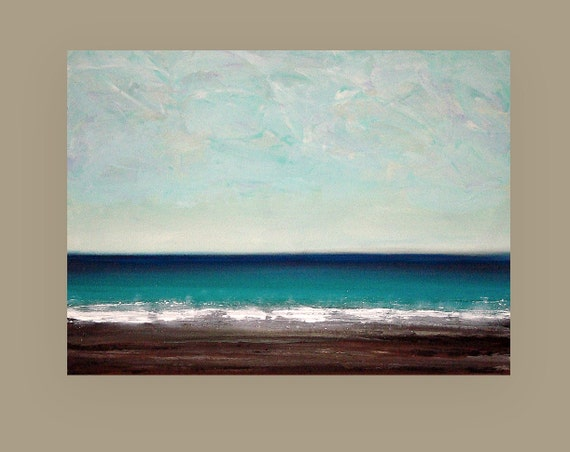 """Painting, Seascape,Art ,Abstract, Acrylic Original Painting on Gallery Canvas by Ora Birenbaum Titled: Just on the Horizon 30x40x1.5"""""""
