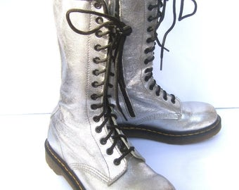 Doc Marten Silver Metallic Lace Up Womens Boots US Size 8