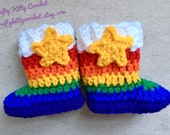 READY TO SHIP Rainbow Brite-Inspired Winter Baby Boots / Booties - 6 Weeks to 6 Months