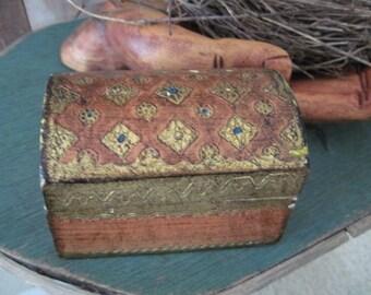 Vintage Orange Florentine Domed Jewelry Trinket Box