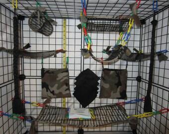 15 pc FULL MESH Sugar Glider Cage Set - Rat - Camo