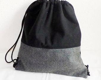 Wool felt - gymnastic bag with softshell, gray-black, backpack