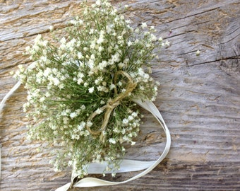 Simple Dried Baby's Breath Corsage - Dried Wedding Wrist Corsage - Baby's Breath