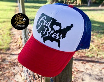 Snapback God Bless America Printed Trucker Hat Red White Blue Summer Cap