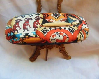 """Woman's handmade hard eyeglass case, """"Southwestern Pottery""""/vision accessory/health & beauty/bag or case item/ocular case/woman's gift"""