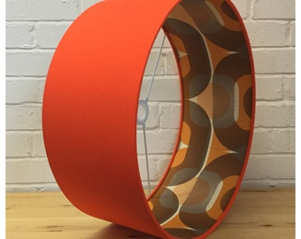 Retro 60s 70s Style Orange Lampshade Lightshade Various Sizes